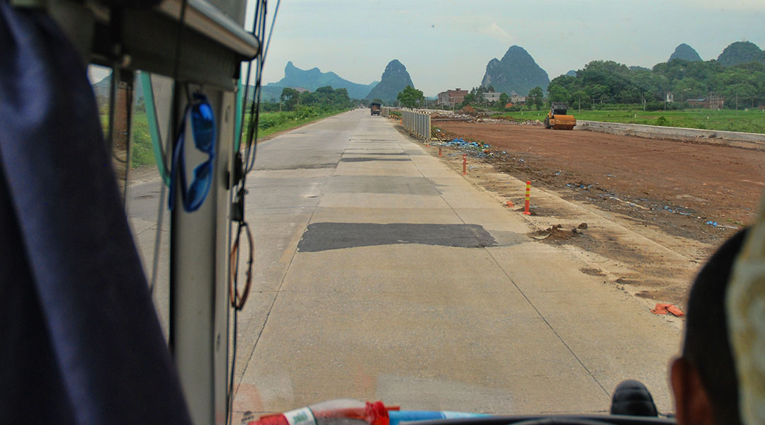 Bus van Yangshuo naar Guilin China