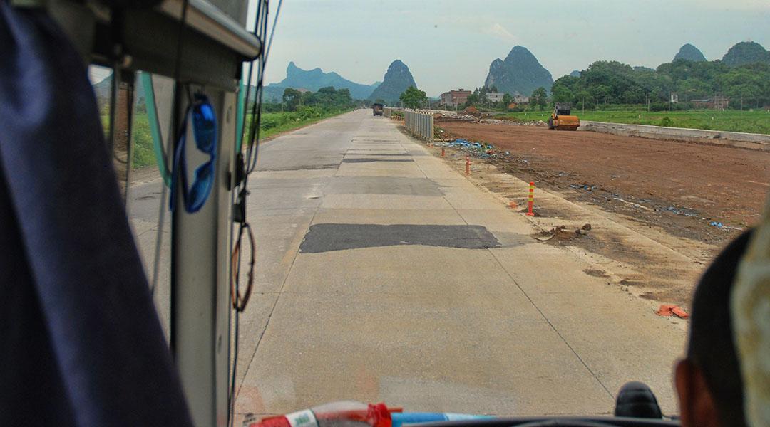Bus van Yangshuo naar Guilin China