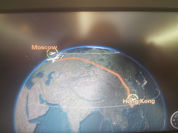 Vlucht van Hong Kong via Moskou naar Schiphol