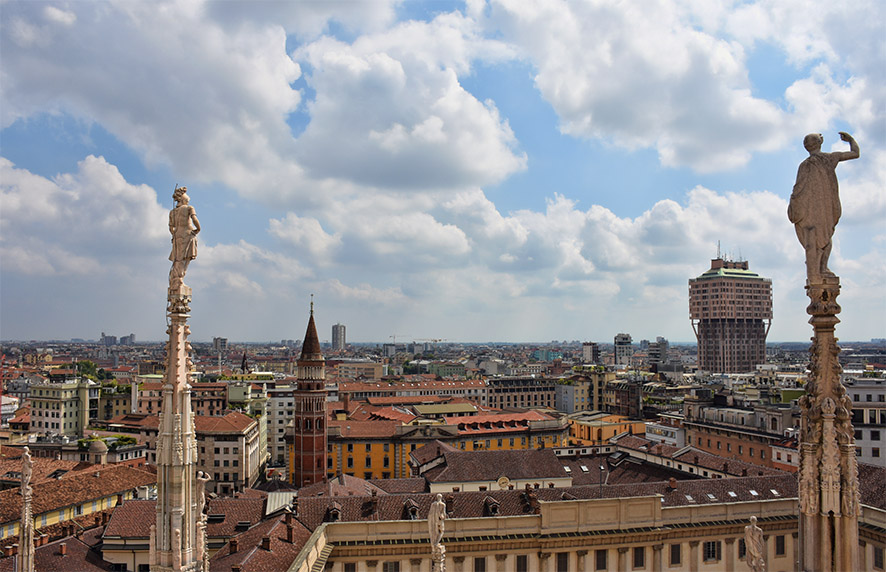Milaan Duomo uitzicht vanaf boven