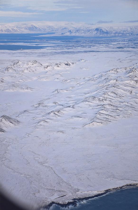 IJsland vanuit het vliegtuig in de winter