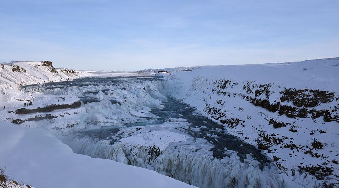 Gullfoss IJsland in de winter