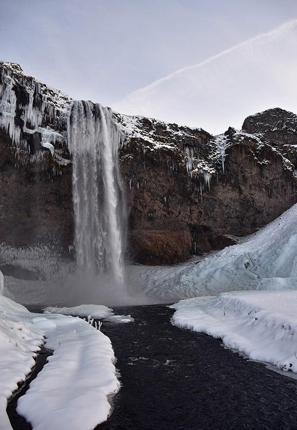 Seljalandsfoss IJsland in de winter
