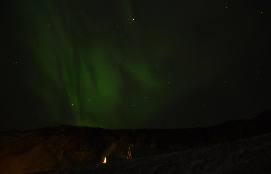 Noorderlicht Aurora Borealis boven Vík IJsland