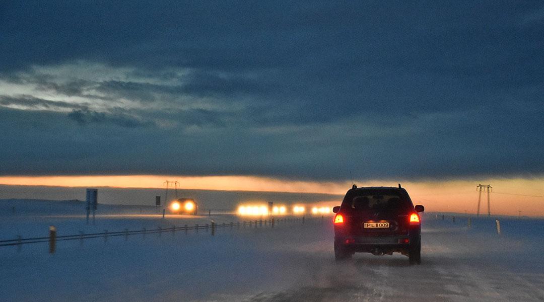 Ringweg 1 van Vík naar Reykjavik in de sneeuw