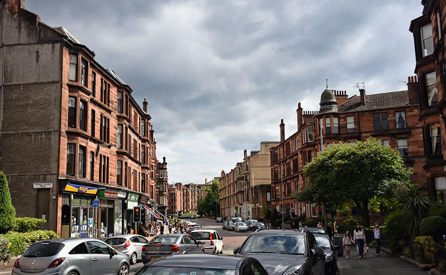 Straatbeeld van Glasgow Schotland