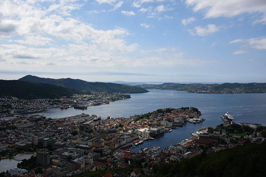 Uitzicht over Bergen Noorwegen