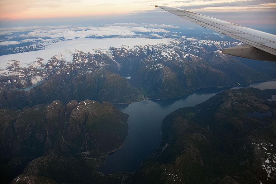 Vlucht naar Bergen boven Noorwegen met SAS