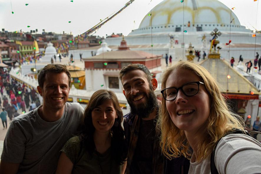 Selfie bij de Boudhanath stupa Nepal