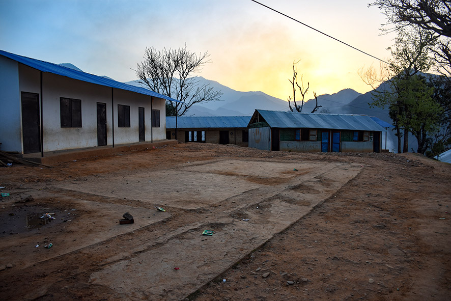 Oude schoolgebouwen in Nepal