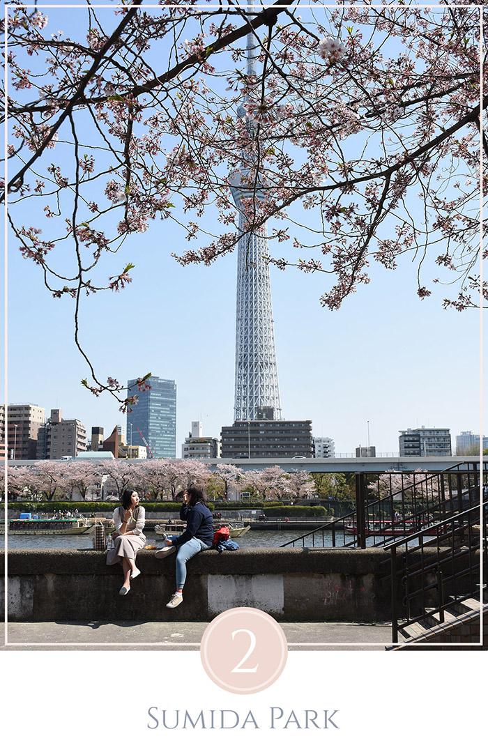 Twee jonge meiden genieten van de zon aan de rivier in Sumida Park Tokyo met de Tokyo Skytree in de achtergrond