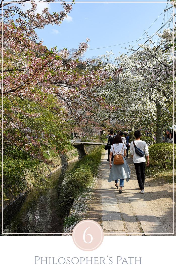 Mensen wandelen in de zon over de philosopher's path in Kyoto Japan onder de kersenbloesems