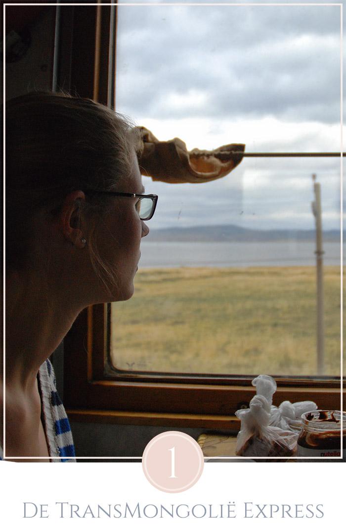 Zittend bij het raam in de trein van de TransMongolië Express, buiten is een heuvelachtig landschap van Rusland te zien, binnen is het donker